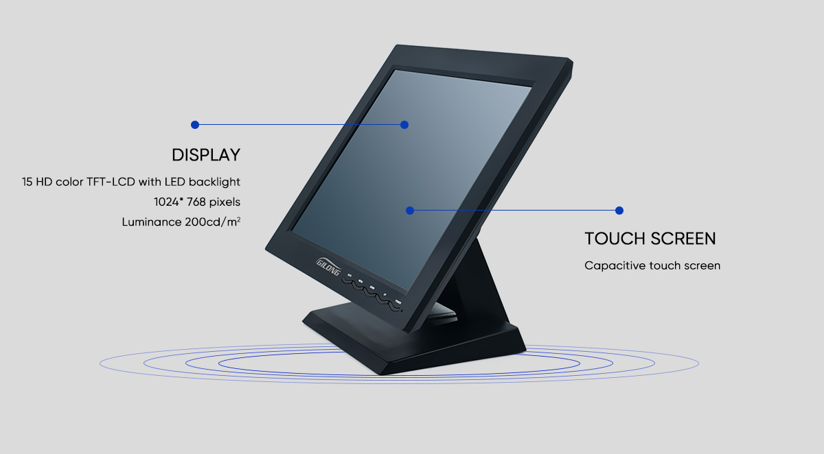 square screen 15 inch capacitive monitor